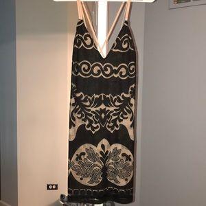 Black lace mini dress with nude slip TAG ON